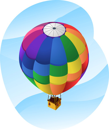 inflating: Hot Air Balloon in the sky, with hot air balloon with different colors like pink, violet, blue, green, yellow, orange, red. Vector illustration cartoon.