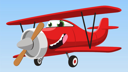 airplane cartoon: biplane airplane cartoon vector illustration