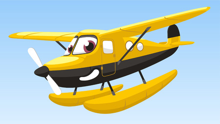 objects with clipping paths: hydronplane airplane cartoon vector illustrattion Illustration