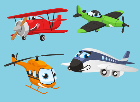 objects with clipping paths: Planes human Helicopter Plane Aircraft Boeing Airbus, vector illustration cartoon with humanized planes.