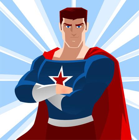 conquistando: Americana superh�roe, con la estrella y de ilustraci�n rojo capa vectorial.