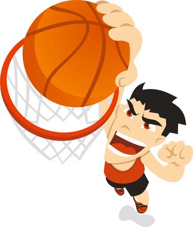slam dunk: Basketball boy dunk illustration