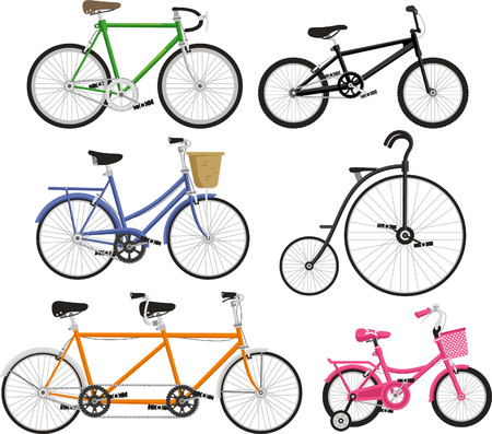 cruiser bike: Bicycle Bike Cycling Cyclist Transportation Type, vector illustration cartoon.