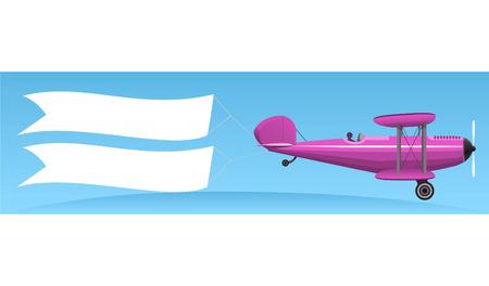 Aerial advertising cartoon illustration