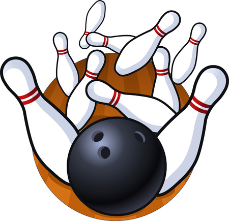 Bowling perfect strike ilustration  イラスト・ベクター素材