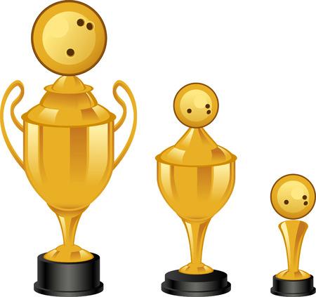 achievement clip art: Bowling throphies illustrations Illustration