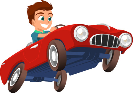 drives: Little boy Driving Red Sports Car vector illustration cartoon.