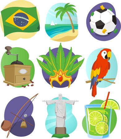 Brazil cartoon icon set Ilustrace