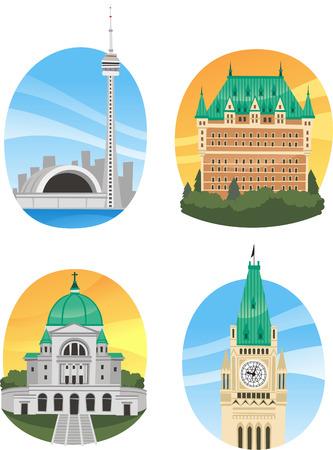 Canada landmark buildings cartoons