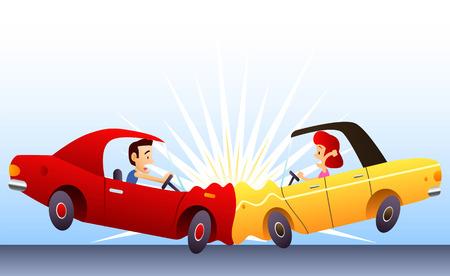 peligro: Accidente de coche, con dos coches chocan frontal golpe�. Ilustraci�n vectorial de dibujos animados.