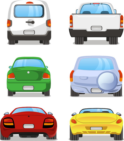 types: Vector cartoon Car rear set 2. With back view of six different types of car. Pick up truck, truck, mini van, station wagon, sports car, hatchback. Illustration