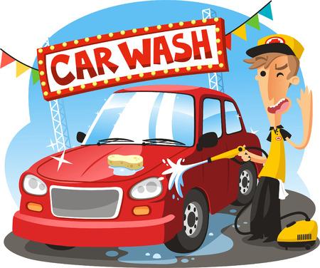 autolavaggio: Car Wash Sign con ragazzo veicolo lavaggio, illustrazione vettoriale cartone animato.