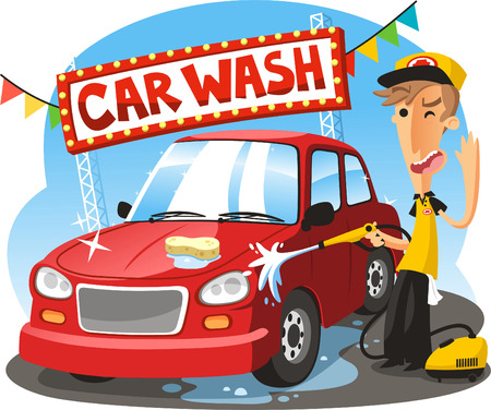 Car Wash Sign with boy washing vehicle, vector illustration cartoon. Çizim