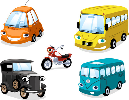 Transportation means: Car Truk Bus Motorcycle Types, with bus, motorbike, truck, race car, wagon, antique car and eco car.
