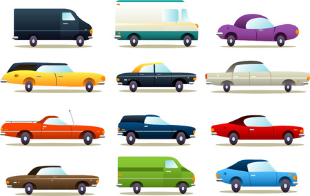 retro cartoon car icon illustrations
