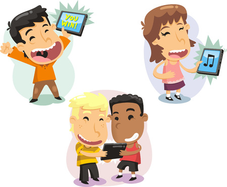 computer screen: Children Kids playing with computer tablets Technology, vector illustration cartoon.