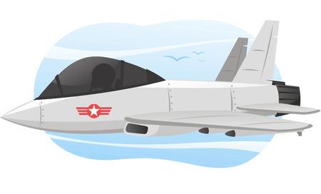 avion caricatura: Ilustraci�n de dibujos animados ilustraci�n vectorial de un avi�n de combate con piloto