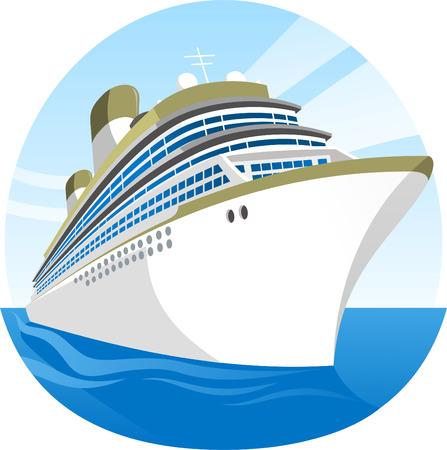 Cruise Ship Sea Holidays vector illustration cartoon.