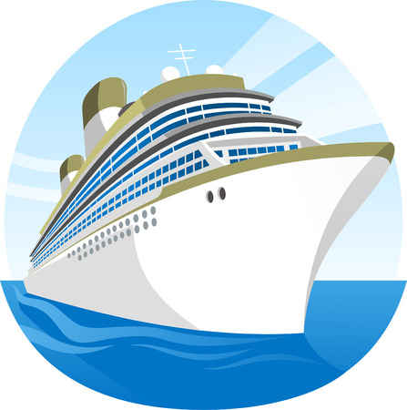 ship sky: Cruise Ship Sea Holidays vector illustration cartoon.