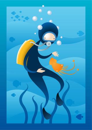 inhaling: Deep sea diver illustration