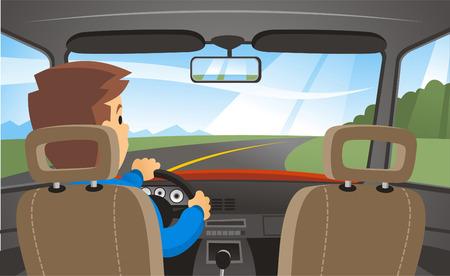 Rückansicht eines Mannes Autofahren