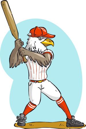 bunt: Eagle bird of prey hawk aquila eaglet falcon griffin playing baseball vector illustration.