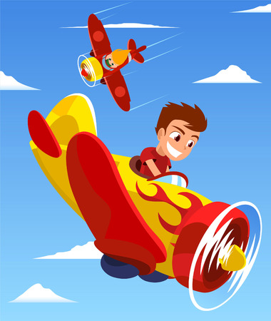 Pilot Kids Plane Race vector illustration, with two kids piloting each one a plane.