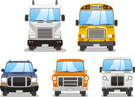 Truck front cartoon vector illustrations