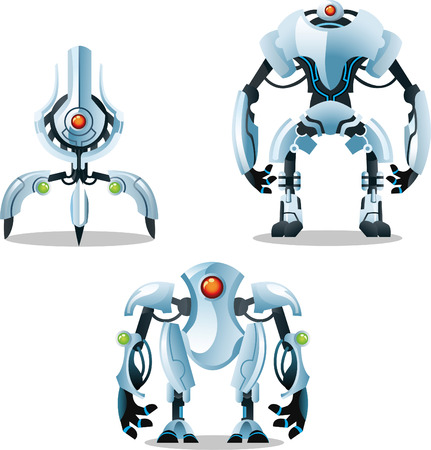 mecha: Set of one tuture mecha in three positions. Illustration