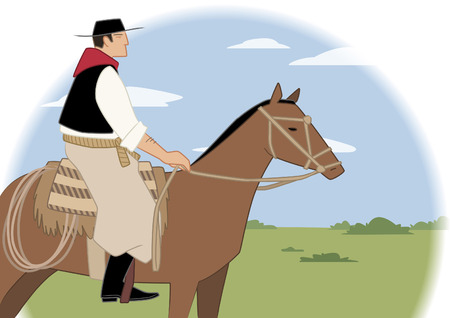 Argentinian gaucho on horse in the middle of the pampa.