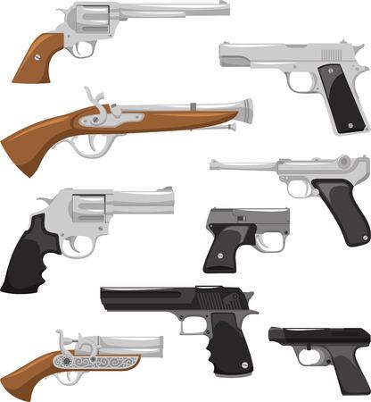 Gun Weapon War Crime Security Militar Police Equipment, vector illustration cartoon.