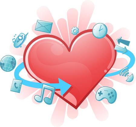 era: vector illustration of a heart in the technology era. Illustration