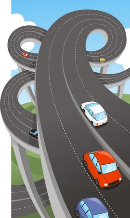 高速道路国民の主要な道のルート パス水路高速道路、ベクトル イラスト漫画。 写真素材 - 34229823