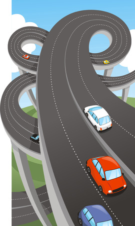 multiple lane highway: Highway Public Major Road Route Path Waterway Highways, vector illustration cartoon. Illustration