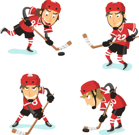Ice Hockey Action Set, with hockey player in four different positions. Vector illustration cartoon.