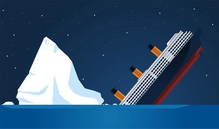 난파선 타이타닉 빙산의 대서양 횡단, 벡터 일러스트 레이 션 만화를 침몰했다.