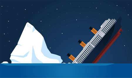 shipwreck Titanic Iceberg Transatlantic Sank, vector illustration cartoon. Çizim