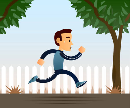 Jogging man vector cartoon illustration