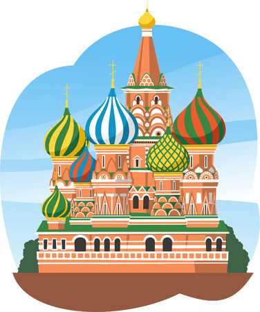 Kremlin Saint Basils Cathedral Moscow Russia, vector illustration cartoon.