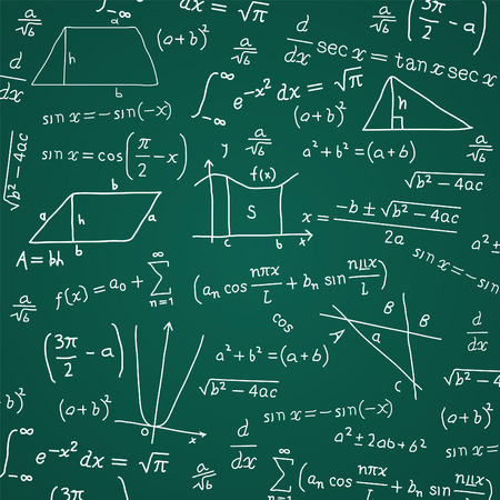 orthographic: Math Formula Blackboard Calculation Vector Illustration Cartoon.