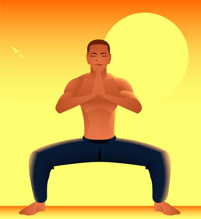 tai chi: Man meditating at sunrise illustration