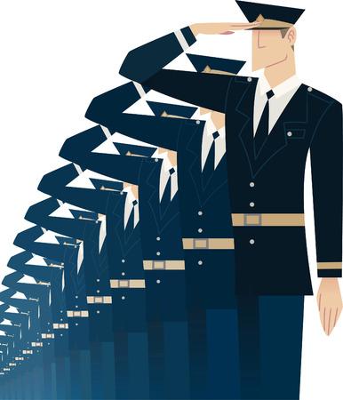 azul marino: Formación militar soldado saludando ilustración vectorial