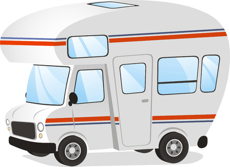 cartoon land: Mobile home Motorhome Caravan Trailer Vehicle, vector illustration cartoon.