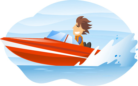 wake: cartoon illustration of a man driving an speedboat.