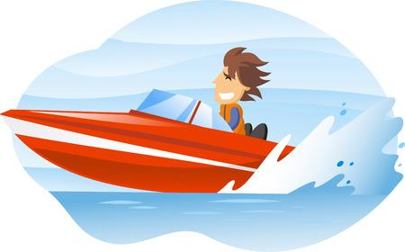 barco caricatura: ilustración de dibujos animados de un hombre que conducía una lancha rápida.