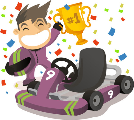 Kart racer in first place holding cup