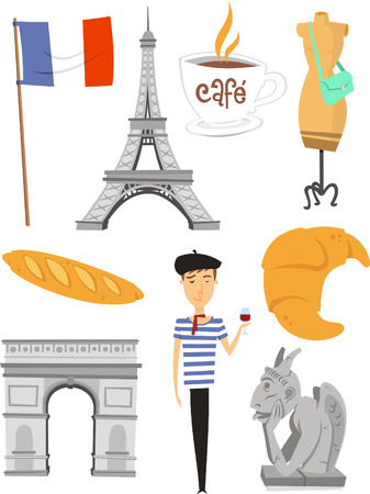 Paris cartoon icons Иллюстрация