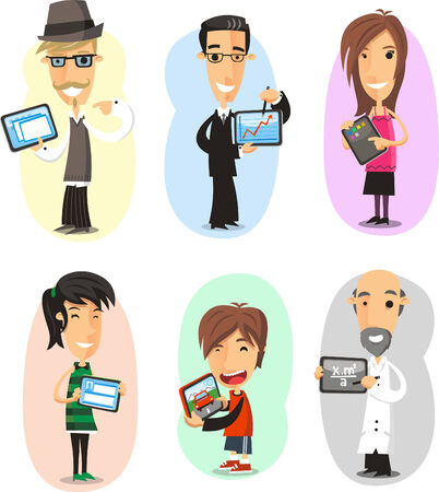 people from different backgrounds with a tablet computer. Vektorové ilustrace