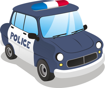 Police cartoon car. vector illustration cartoon. Vector