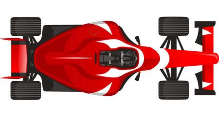 motorizado: Deportes coche F1 Racing, con ilustración vectorial rojo.